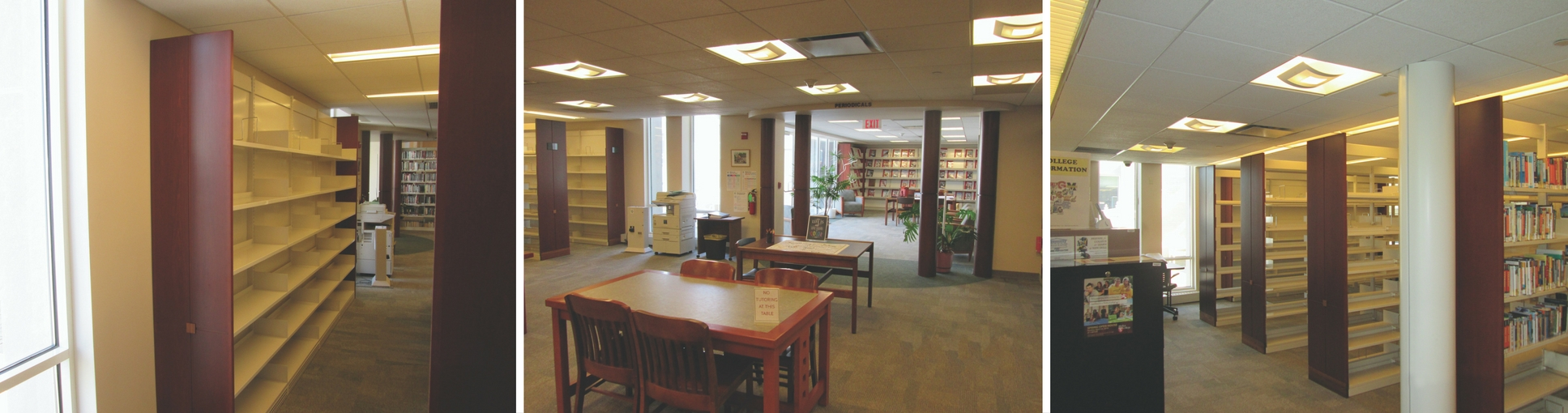 BEFORE: Periodical area was single-use, underutilized and lacking in power and internet connections.